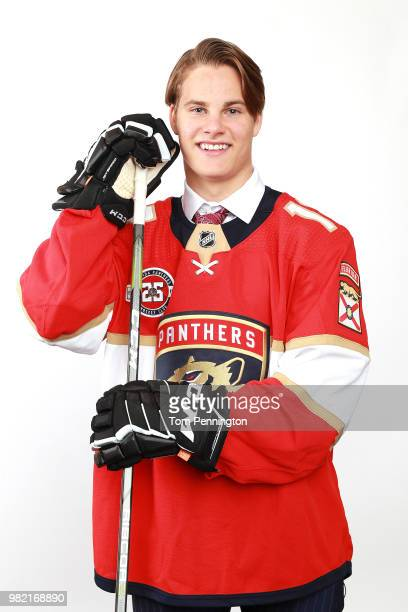 Logan Hutsko poses after being selected 89th overall by the Florida Panthers during the 2018 NHL Draft at American Airlines Center on June 23 2018 in...