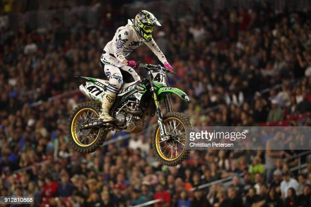 Logan Karnow competes in the 450SX LCQ of the Monster Energy AMA Supercross at the University of Phoenix Stadium on January 27 2018 in Glendale...