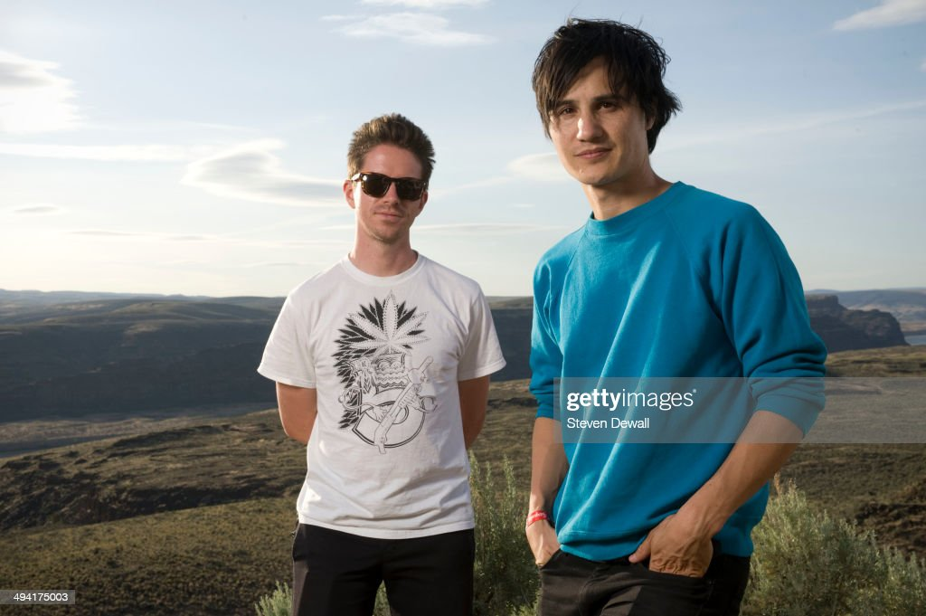 Logan Kroeber and Meric Long of The Dodos pose for a portrait backstage on day 2 of Sasquatch! Music Festival at the Gorge Amphitheater on May 24, 2014 in George, United States.