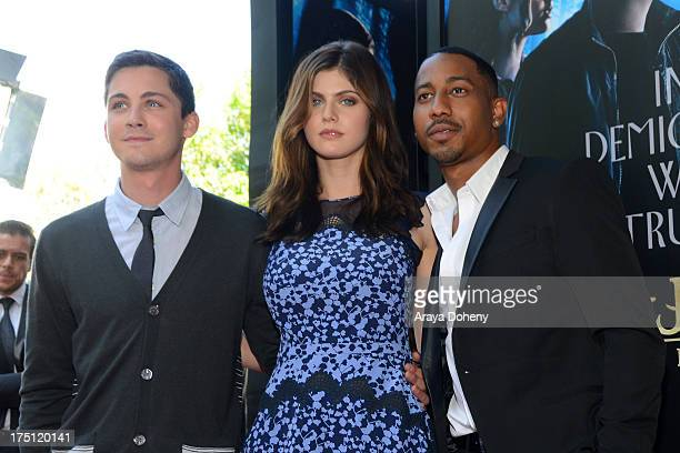 Logan Lerman Alexandra Daddario and Brandon T Jackson arrive at a special fan screening of 'Percy Jackson Sea Of Monsters' Los Angeles Premiere at...