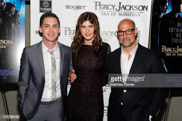 Logan Lerman Alexandra Daddario and Stanley Tucci attend 'Percy Jackson Sea Of Monsters' Hamptons Premiere at UA Southampton Cinemas on July 28 2013...
