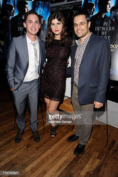 Logan Lerman Alexandra Daddario and Thor Freudenthal attend 'Percy Jackson Sea Of Monsters' Hamptons Premiere afterparty at 75 Main Street on July 28...