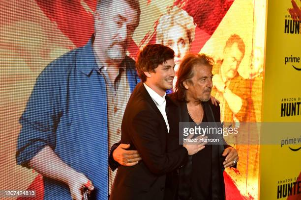 Logan Lerman and Al Pacino attend the Premiere Of Amazon Prime Video's Hunters at DGA Theater on February 19 2020 in Los Angeles California