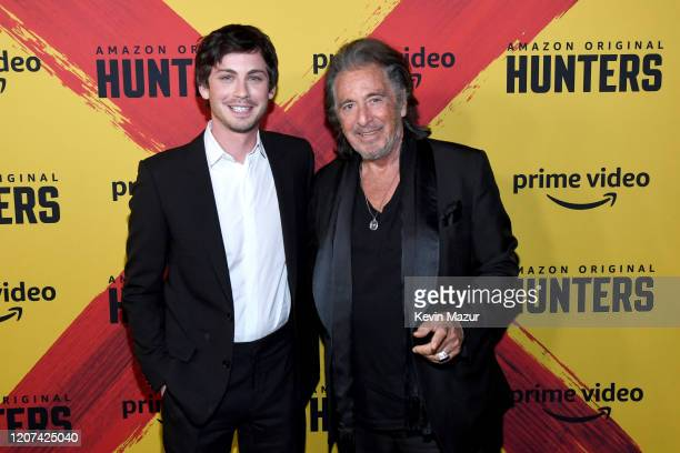 Logan Lerman and Al Pacino attend the World Premiere Of Amazon Original Hunters at DGA Theater on February 19 2020 in Los Angeles California
