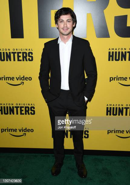 Logan Lerman attends the premiere of Amazon Prime Video's Hunters at DGA Theater on February 19 2020 in Los Angeles California