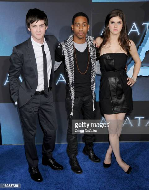 Logan Lerman Brandon T Jackson and Alexandra Daddario arrive at the 'Avatar' Los Angeles Premiere at the Grauman's Chinese Theater on December 16...