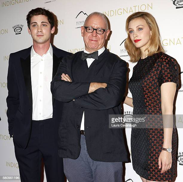 Logan Lerman James Schamus and Sara Gadon attend Indignation New York Premiere at Museum of Modern Art on July 25 2016 in New York City