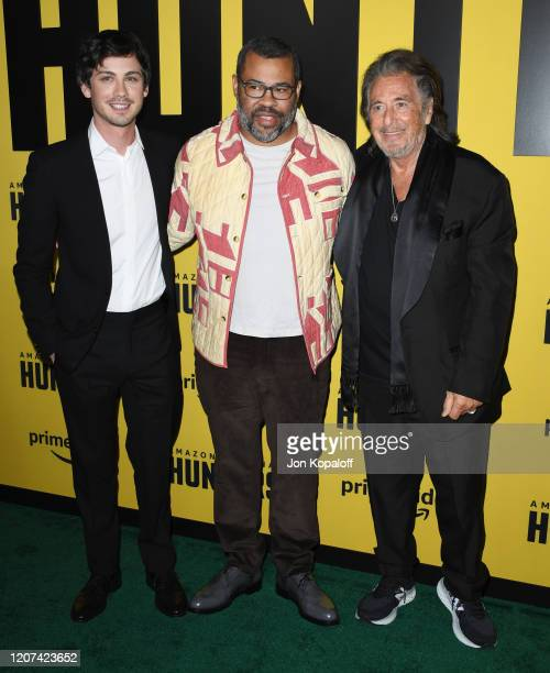 Logan Lerman Jordan Peele and Al Pacino attend the premiere of Amazon Prime Video's Hunters at DGA Theater on February 19 2020 in Los Angeles...