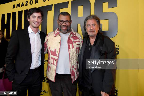 Logan Lerman Jordan Peele and Al Pacino attend the World Premiere Of Amazon Original Hunters at DGA Theater on February 19 2020 in Los Angeles...