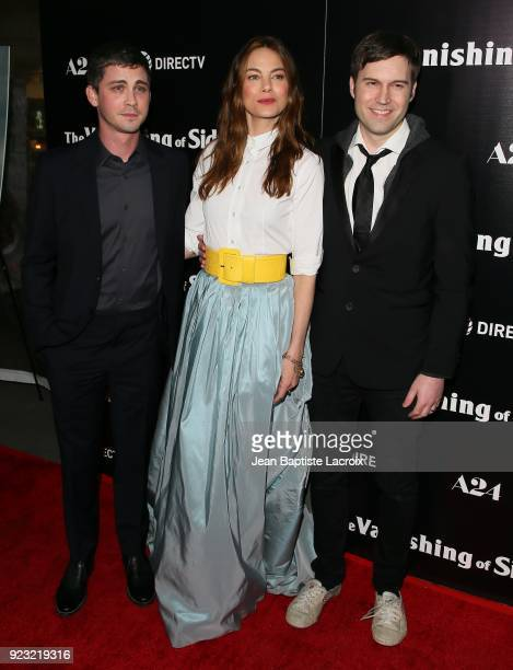 Logan Lerman Michelle Monaghan and Shawn Christensen attend the premiere of A24 and DirecTV's 'The Vanishing Of Sidney Hall' on February 22 2018 in...
