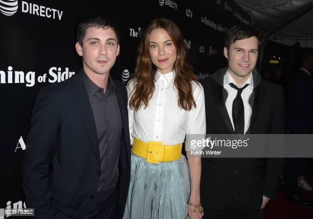 Logan Lerman Michelle Monaghan and Shawn Christensen attends the premiere of A24 and DirecTV's The Vanishing Of Sidney Hall at ArcLight Hollywood on...