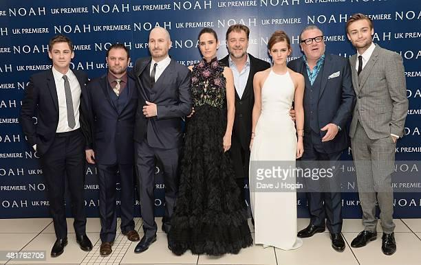 Logan Lerman producer Scott Franklin director Darren Aronofsky Jennifer Connelly Russell Crowe Emma Watson Ray Winstone and Douglas Booth attend the...