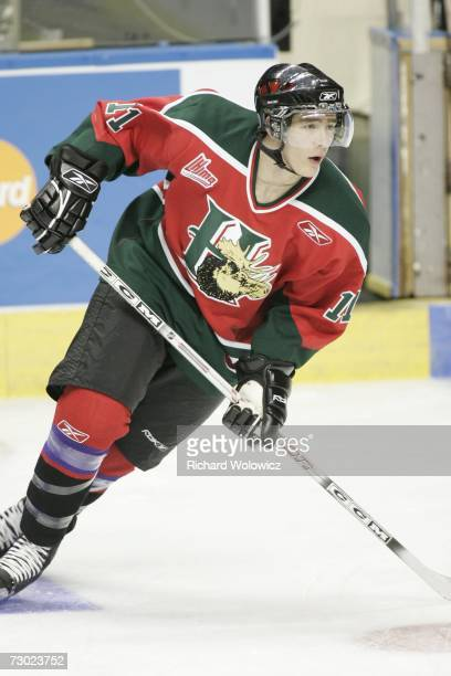 Logan MacMillan of Team BurnsBergeron skates during the 2007 Home Hardware CHL/NHL Top Prospects Skills Competition at Colisee Pepsi on January 16...