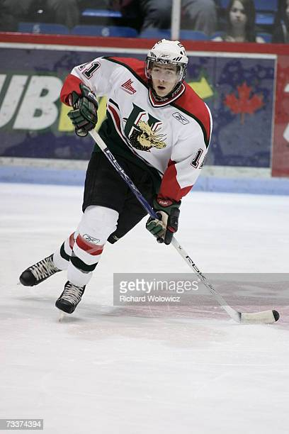 Logan MacMillan of the Halifax Mooseheads skates during the game against the Drummondville Voltigeurs at the Centre Marcel Dionne on February 16,...
