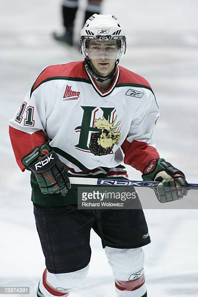 Logan MacMillan of the Halifax Mooseheads skates during the warm-up prior to facing the Drummondville Voltigeurs at the Centre Marcel Dionne on...