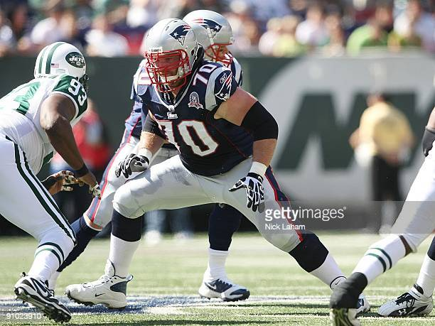 Logan Mankins of the New England Patriots against the New York Jets at Giants Stadium on September 20, 2009 in East Rutherford, New Jersey.