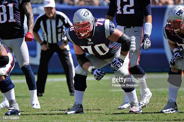 Logan Mankins of the New England Patriots plays against the Tennessee Titans during their season opener at LP Field on September 9, 2012 in...