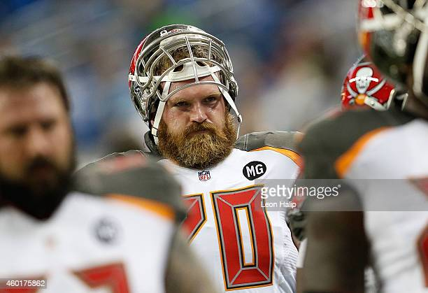 Logan Mankins of the Tampa Bay Buccaneers warms up prior to the start of the game gainst the Detroit Lions at Ford Field on December 7, 2014 in...