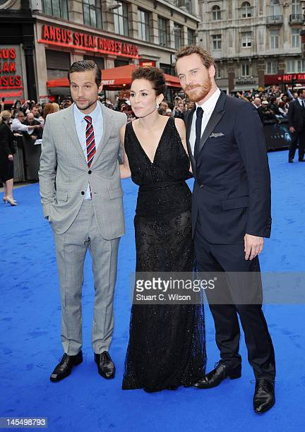 Logan MarshallGreen Noomi Rapace and Michael Fassbender attend the world premiere of Prometheus at Empire Leicester Square on May 31 2012 in London...