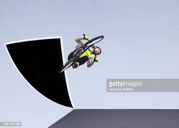 Logan Martin of Australia jumps during the Men's BMX Freestyle seeding event, run 2 on day eight of the Tokyo 2020 Olympic Games at Ariake Urban...