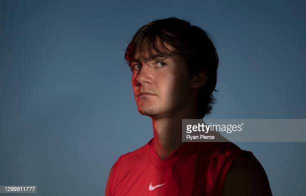 Logan McDonald of the Swans poses during a portrait session at the Sydney Swans 2021 AFL media day at Sydney Cricket Ground on February 02, 2021 in...