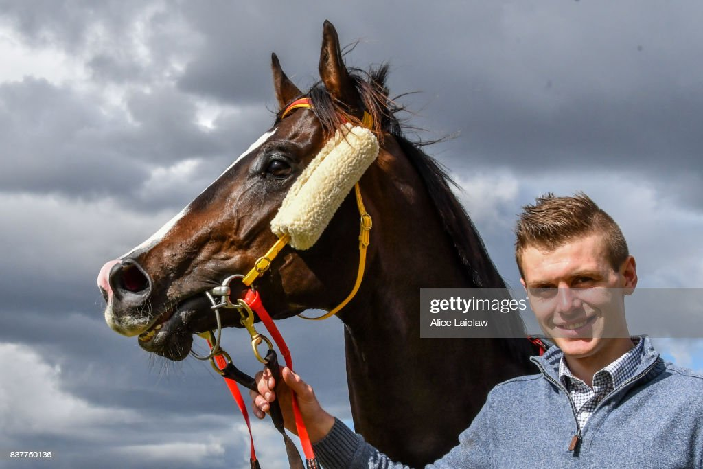 Logan McGill with Written Choice after winning the Chandler Macleod Plate at Ladbrokes Park Hillside Racecourse on August 23, 2017 in Springvale, Australia.
