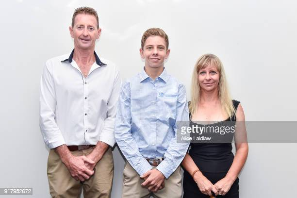 Logan McNeil with his parents Darryl and Michelle McNeil at the Apprentice Jockeys Induction at Racing Victoria on February 14 2018 in Flemington...