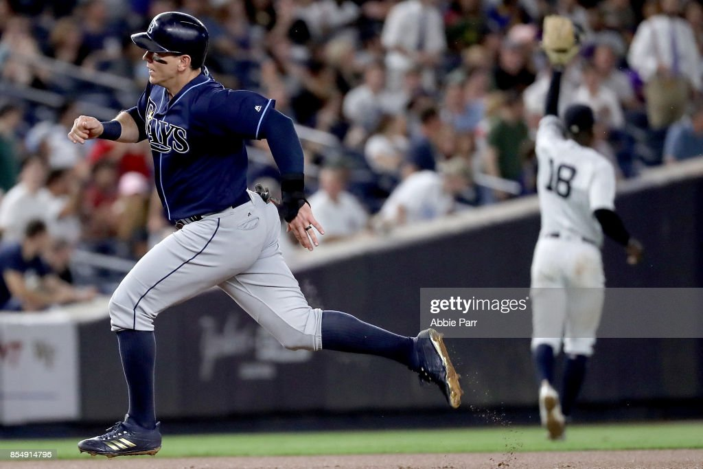 Logan Morrison #7 of the Tampa Bay Rays advances to third on a double from Steven Souza Jr. #20 of the Tampa Bay Rays in the fourth inning against the New York Yankees at Yankee Stadium on September 27, 2017 in the Bronx borough of New York City.