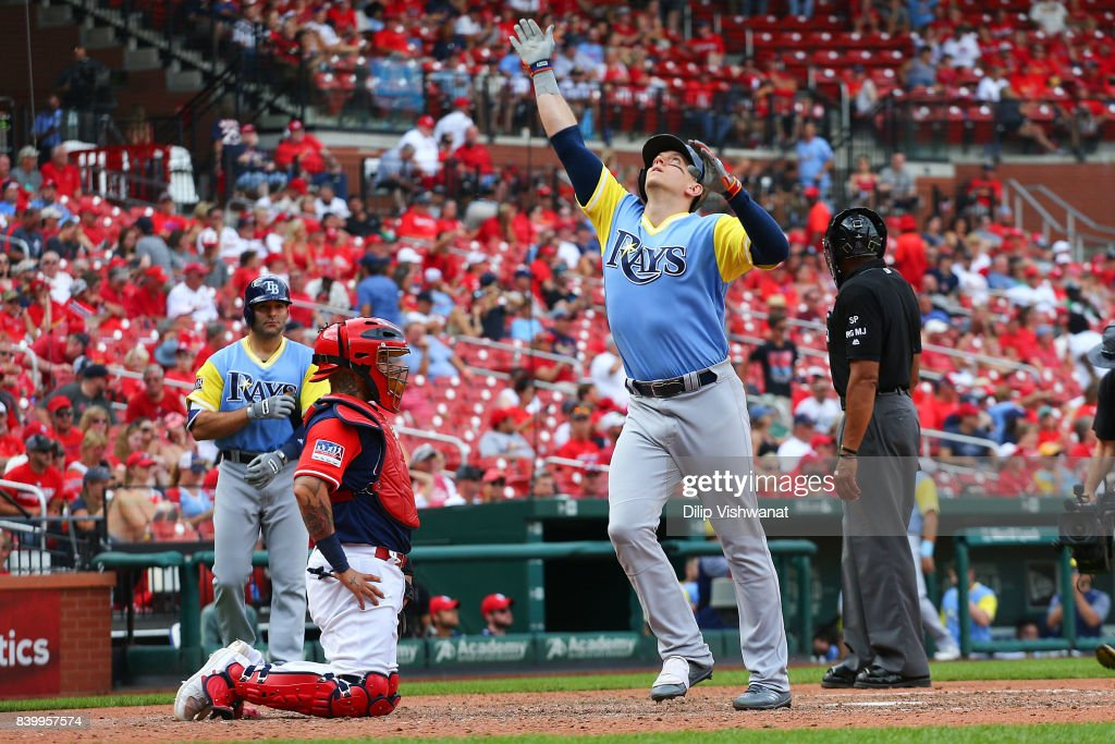 Logan Morrison #7 of the Tampa Bay Rays celebrates after hitting the game-winning home run against the St. Louis Cardinals in the 10th inning at Busch Stadium on August 27, 2017 in St. Louis, Missouri.