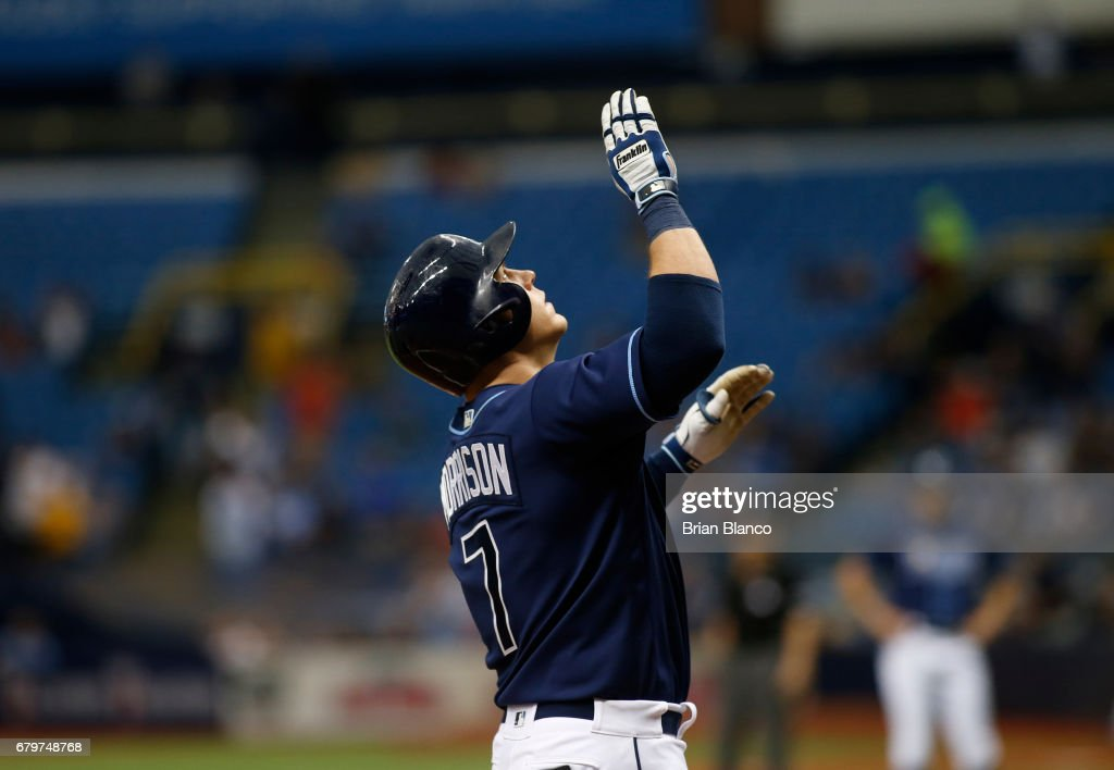 Logan Morrison #7 of the Tampa Bay Rays celebrates at home plate after hitting a two-run home run during the third inning of a game against the Toronto Blue Jays on May 6, 2017 at Tropicana Field in St. Petersburg, Florida.