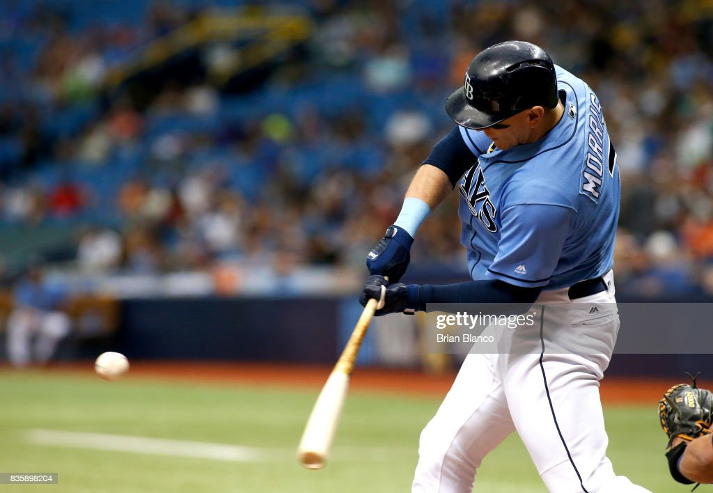 Logan Morrison #7 of the Tampa Bay Rays hits a fielder's choice off of pitcher Yovani Gallardo of the Seattle Mariners during the first inning of a game on August 20, 2017 at Tropicana Field in St. Petersburg, Florida.