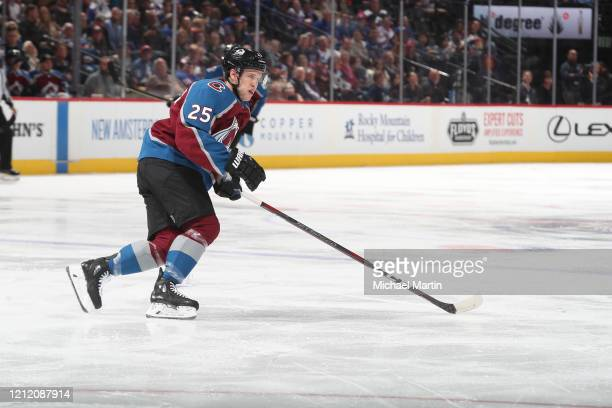 Logan O'Connor of the Colorado Avalanche skates against the New York Rangers at Pepsi Center on March 11 2020 in Denver Colorado