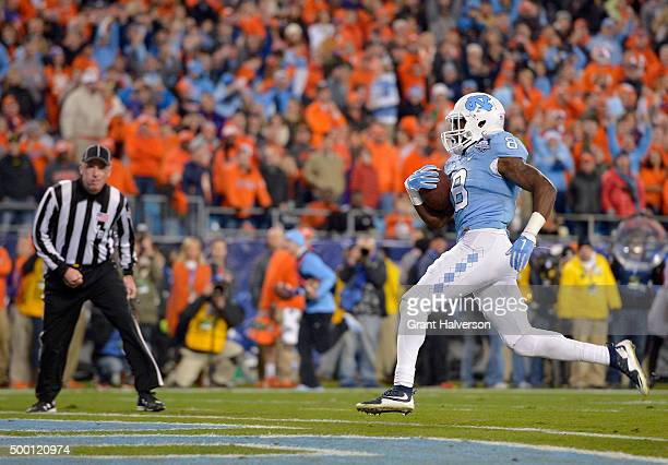 Logan of the North Carolina Tar Heels scores a touchdown against the Clemson Tigers in the 1st quarter during the Atlantic Coast Conference Football...