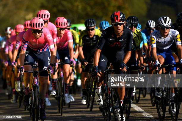 Logan Owen of The United States and Team EF Pro Cycling / Andrey Amador Bikkazakova of Costa Rica and Team INEOS - Grenadiers / Andrea Bagioli of...