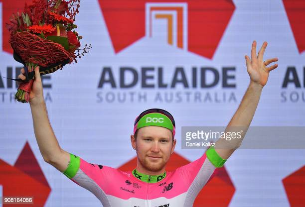Logan Owen of United States and EF Education FirstDrapac celebrates on the podium after stage six of the 2018 Tour Down Under on January 21 2018 in...