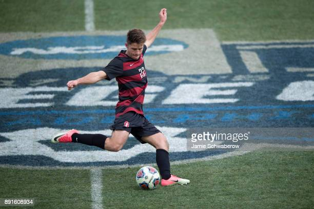 Logan Panchot of Stanford University kicks the ball upfield against Indiana University during the Division I Men's Soccer Championship held at Talen...