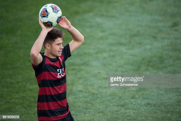 Logan Panchot of Stanford University throws the ball in against Indiana University during the Division I Men's Soccer Championship held at Talen...