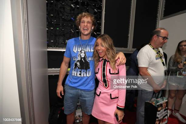 Logan Paul and Chloe Bennet stop by the Marvel booth to pose with the Hyundai Kona Iron Man Edition at San Diego ComicCon 2018 at the San Diego...
