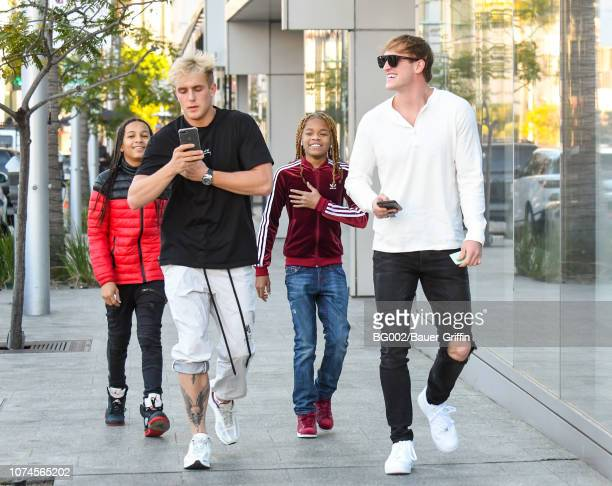 Logan Paul and Jake Paul are seen on December 21 2018 in Los Angeles California