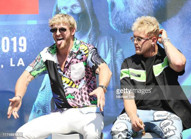 Logan Paul and Jake Paul onstage at the KSI VS Logan Paul 2 launch press conference held at Gilbert Lindsey Plaza on September 14 2019 in Los Angeles...
