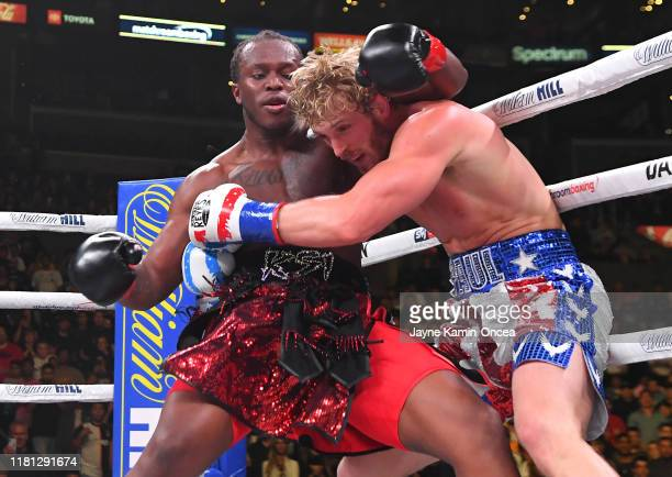 Logan Paul and KSI exchange punches during their pro debut fight at Staples Center on November 9 2019 in Los Angeles California KSI won by decision