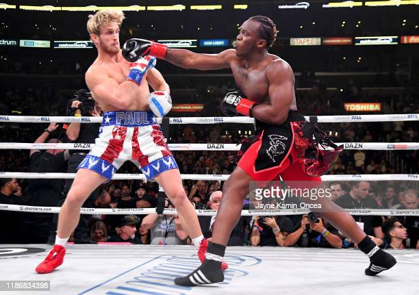 Logan Paul and KSI exchange punches their pro debut cruiserweight fight at Staples Center on November 9 2019 in Los Angeles California KSI won by...
