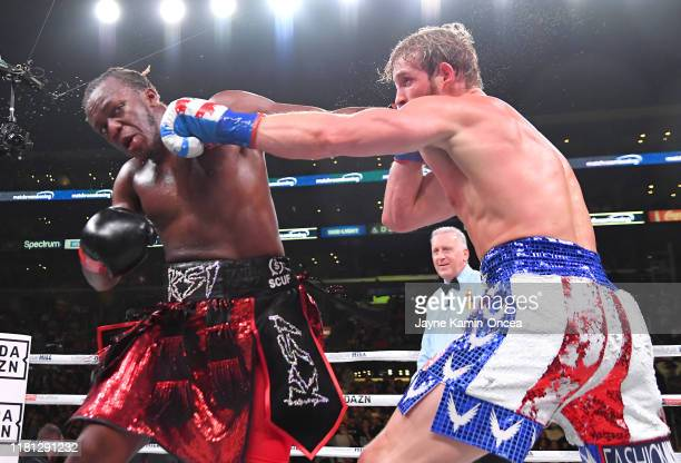 Logan Paul and KSI exchange punches their pro debut fight at Staples Center on November 9 2019 in Los Angeles California KSI won by decision