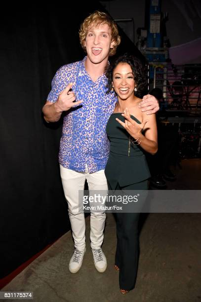 Logan Paul and Liza Koshy attend Teen Choice Awards 2017 at Galen Center on August 13 2017 in Los Angeles California