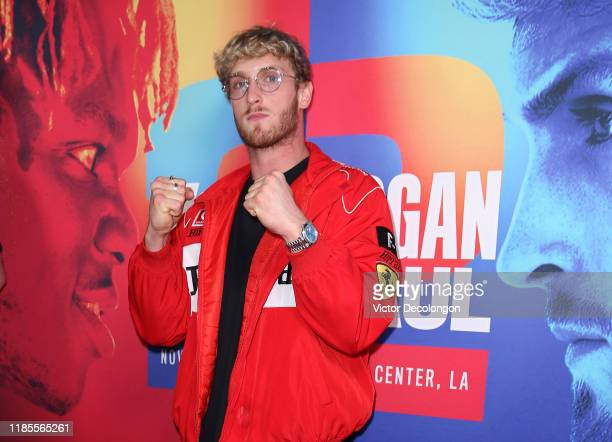 Logan Paul arrives for the screening of DAZN's 40 Days at Belasco Theatre on November 04 2019 in Los Angeles California