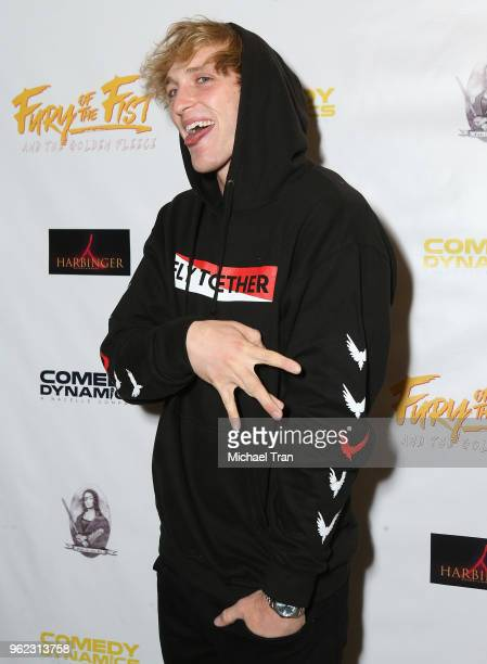 Logan Paul attends the Los Angeles premiere of Comedy Dynamics' The Fury Of The Fist And The Golden Fleece held at Laemmle's Music Hall 3 on May 24...