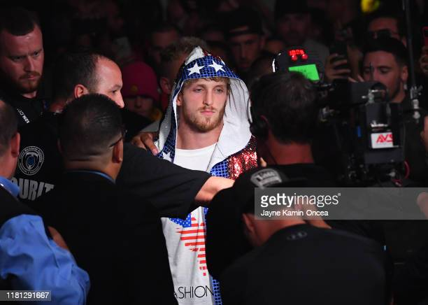 Logan Paul enters the ring for his pro debut fight against KSI at Staples Center on November 9 2019 in Los Angeles California KSI won by decision
