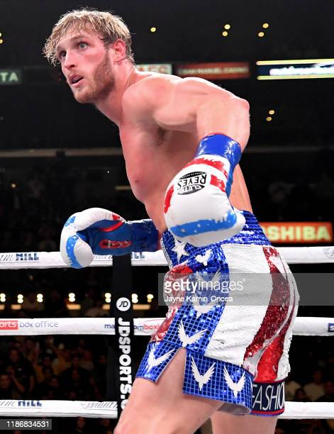 Logan Paul in the ring during his pro debut Cruiserweight fight against KSI at Staples Center on November 9 2019 in Los Angeles California KSI won by...