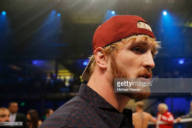Logan Paul looks on after his brother, Jake Paul, defeated AnEsonGib in a first round knockout during their fight at Meridian at Island Gardens on...