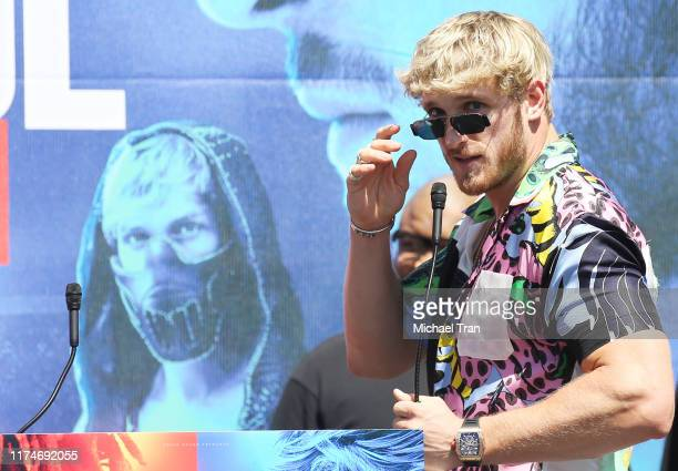 Logan Paul onstage at the KSI VS Logan Paul 2 launch press conference held at Gilbert Lindsey Plaza on September 14 2019 in Los Angeles California